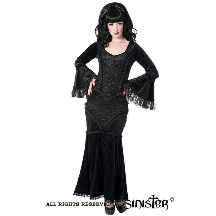 Black velvet and lace gothic mermaid skirt by Sinister (Skirt 685 & Top 686) www.sinister.nl