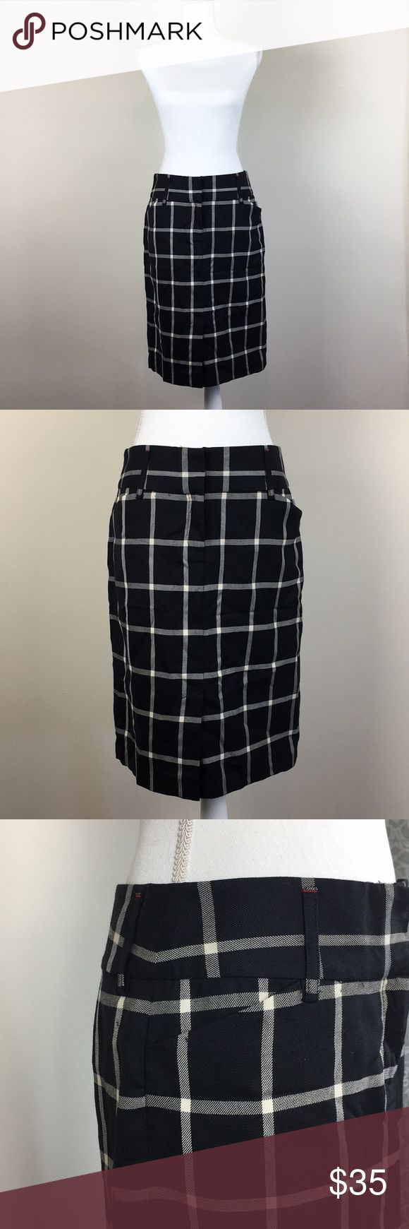 """Tommy Hilfiger Black and White Wool Skirt Size 6 Has pockets! Tommy Hilfiger Black and White Windowpane Wool Skirt Size 6. Front zipper closure with button and two clasps. Slit in front and back. Belt loops. Gently used. No flaws.  Waist: 15.5"""" Skirt Length: 23"""" Tommy Hilfiger Skirts"""