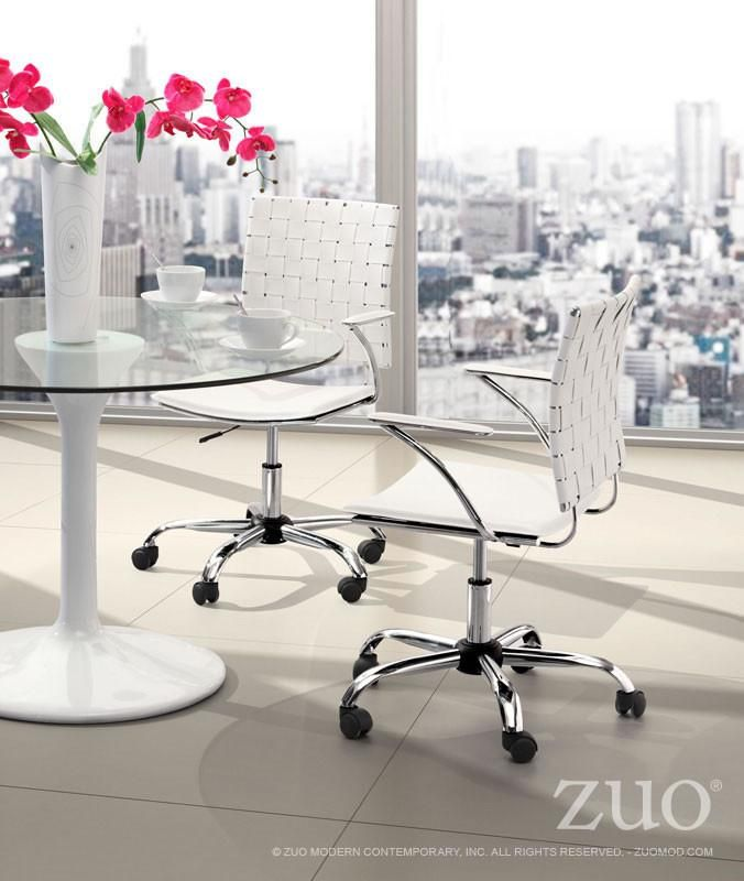 Zuo Criss Cross Office Chair White - 205031. This fun and functional office chair combines a modern and transitional look. The Criss Cross office chair is made with a solid steel chrome frame and base, leatherette straps and seat, and includes an adjustable height feature.