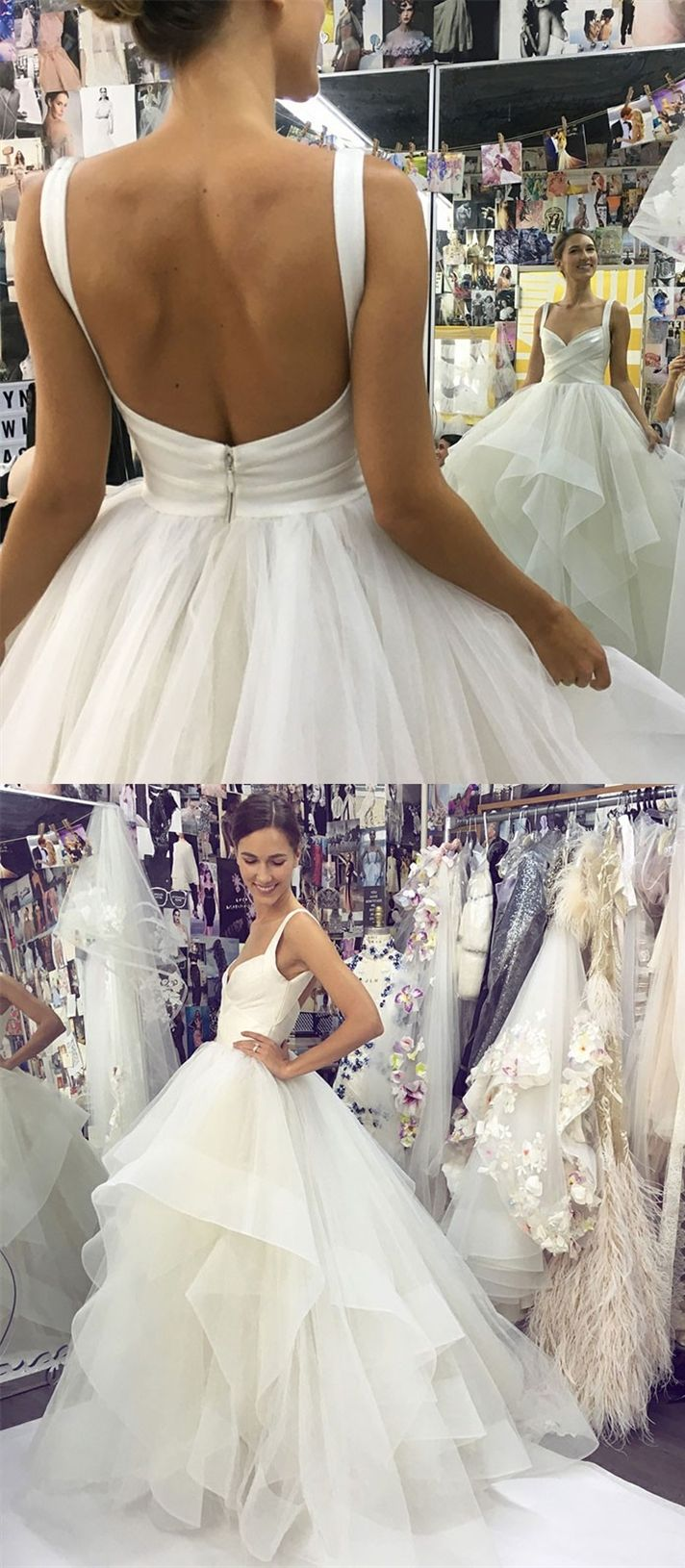 Aline square neck backless white tiered wedding dress in