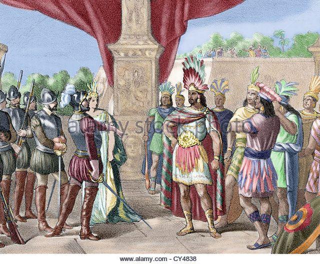 Moctezuma II (c. 1466-1520). Ninth tlatoani of Tenochtitlan. Hernan Cortes takes prisoner Moctezuma II. Colored engraving, - Stock Image