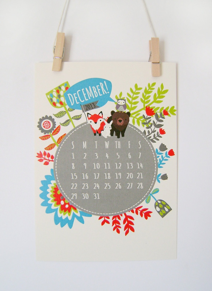 Illustrated calendar from Print Pretty