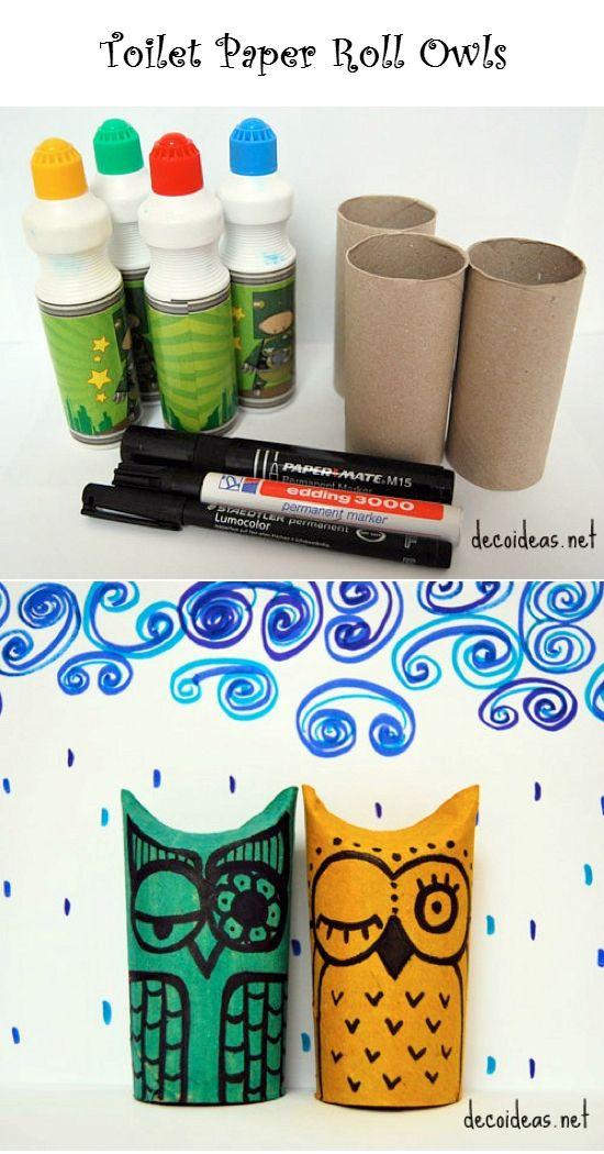DIY Toilet Paper Roll Owls Here is a super cute project to
