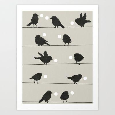 Birdsong Grey Art Print by Garima Dhawan - $18.00