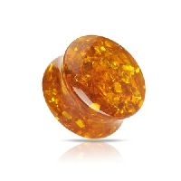 25 mm Double-flared plug steen Amber