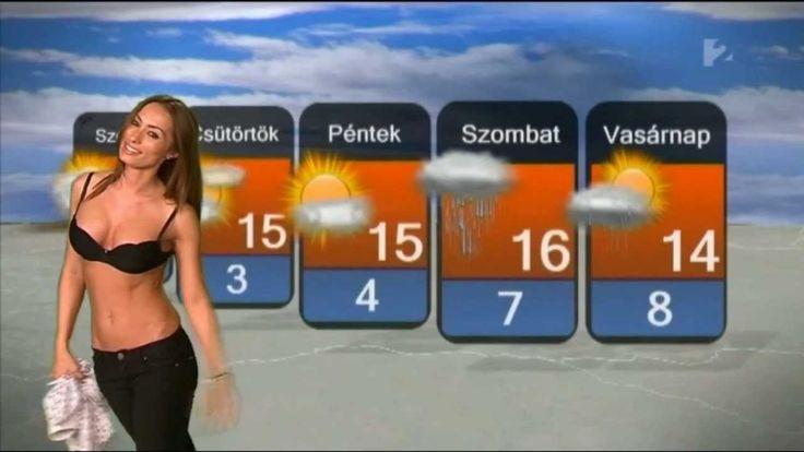 Hot Chick Striptease in Hungarian Weather Forecast - Vetkőzés Az Időjárás…