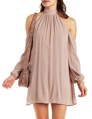Cold Shoulder Mock Neck Shift Dress: Charlotte Russe