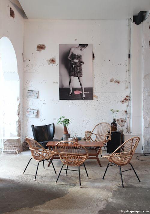 Rustic setting with mcm furnishings--via Petite Passport
