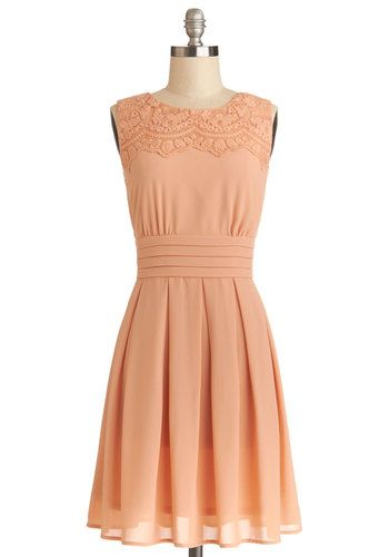 V.I.Pleased Dress - Orange, Solid, Pleats, Wedding, Daytime Party, Bridesmaid, A-line, Sleeveless, Better, Woven, Mid-length, Embroidery, Pa...
