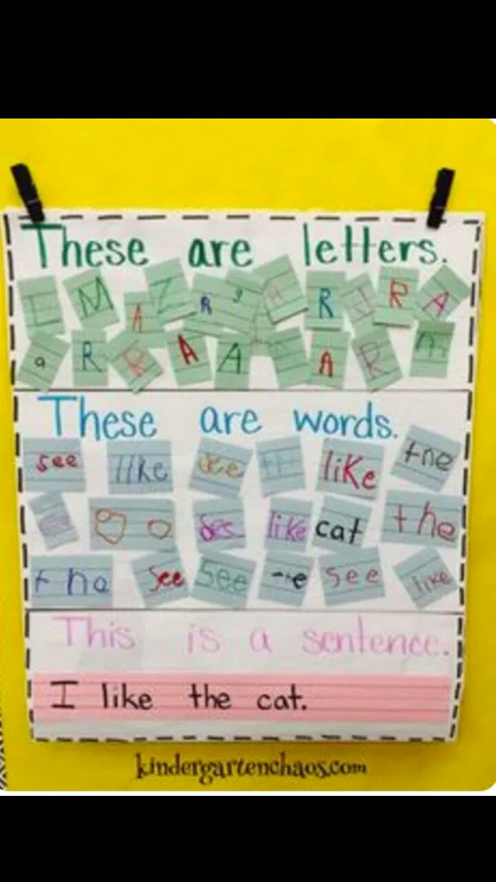 Distinguishing letters wordss and sentences. From @kindergartenchaos