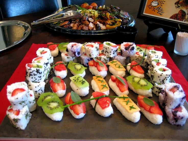 Frushi - if the fruit won't adhere to the rice, apply it with a dab of honey. Try rolling in toasted shredded coconut.