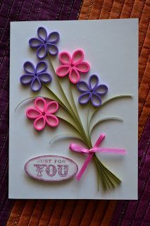 Carte - Fleurs en paperolles Quilled flowers card