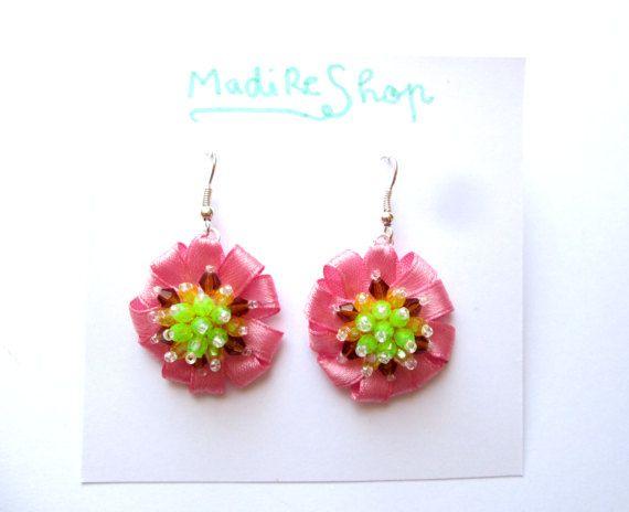 Life is Sweet Pink Flower Earrings Beaded Green by MadiReShop #handmade #earrings #pink #beaded #dangle #satin #ribbon #flower