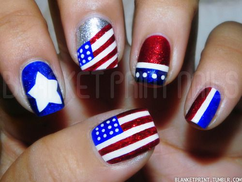 fun red, white, and blue nails ... Colors: Chancer (Butter London), Kate (Julep), Spring Gentian (Priti NYC), Diamond Geezer (Butter London)