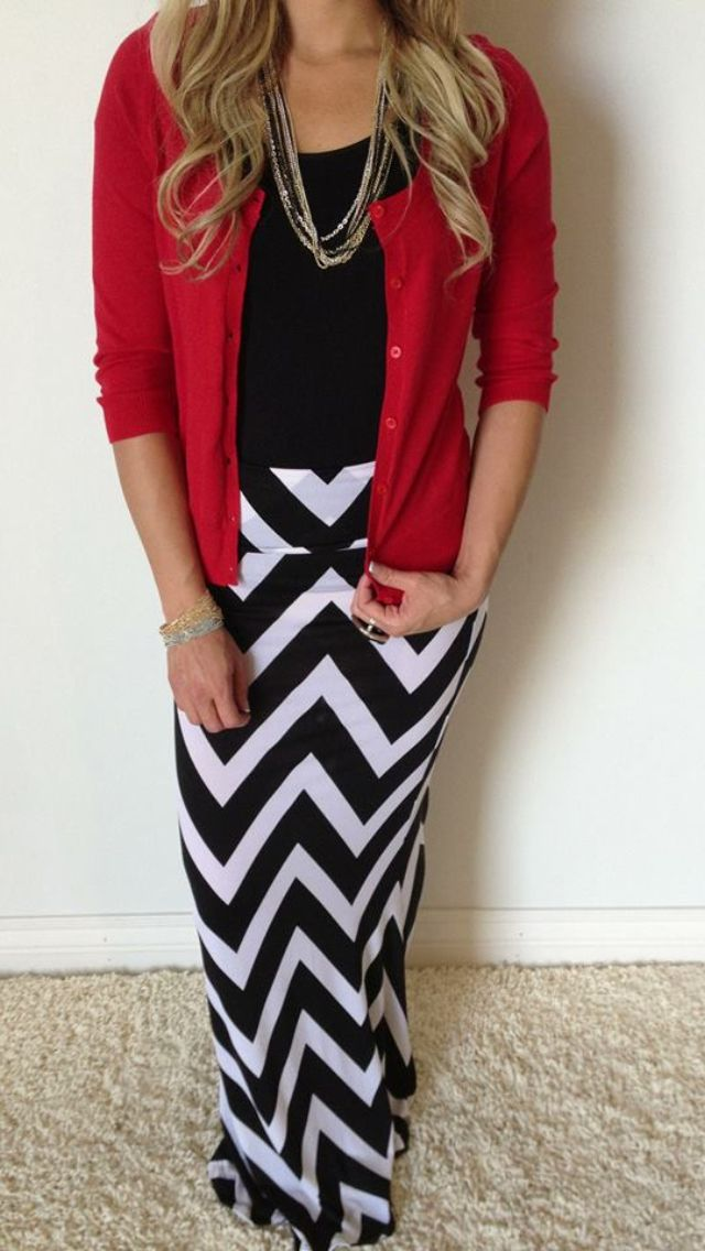 Love this Chevron maxi skirt, but would pair with a red fitted blazer instead of a cardigan.