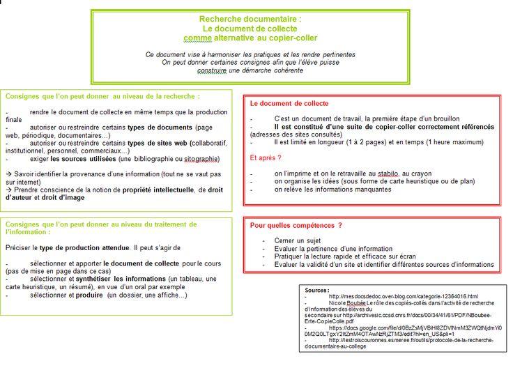 Document de présentation du document de collecte pour les professeurs