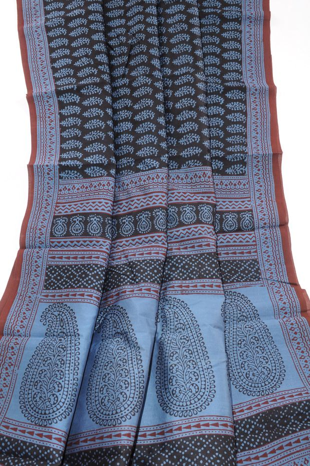 Chanderi Bagh print black with blue Chanderi Saris [chpblablubagh] - $88.00 : Sarishop, Online Saree Shopping