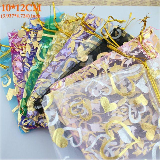 Daily Discount $5.10, Buy Organza Bag Packaging Bags Wedding Gift Bags 100pcs/pack Random Mix Drawable Organza Pouches10x12cm Bolsas de Organza Bags