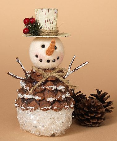 This Standing Pinecone Snowman is perfect! #zulilyfinds