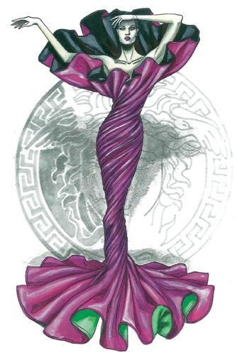 Versace 1986.  Abito del personaggio Morte Torchon, creato per Malraux, ou la métamorphose des Dieux, balletto di Maurice Béjart del 1986, illustrazione di Manuela Brambatti.