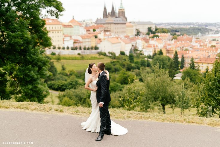 Beautiful view from Petrin. #Prague castle in the background, newlyweds in foreground. #wedding
