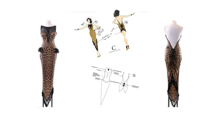 Jamy | jamy.london  RTW latin dress Designed at CHRISANNE for Spring 2015 collection. Enhanced with CRYSTALS FROM SWAROVSKI. Photo courtesy of CHRISANNNE. drawings by JAMY ARAFAH