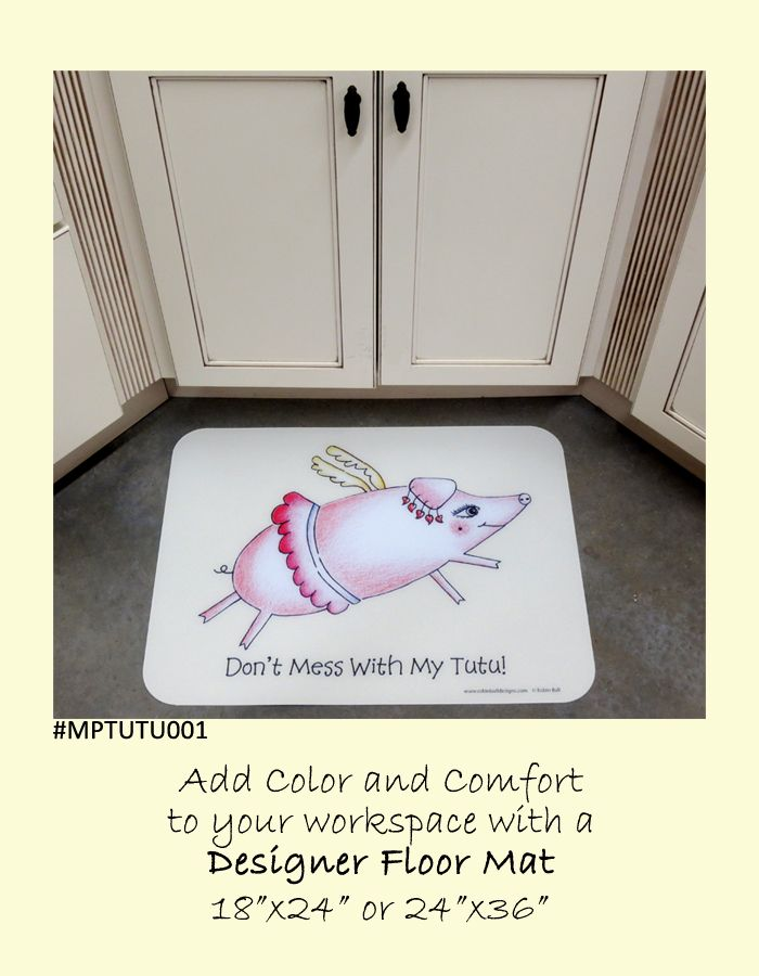 $45.00 Flying Pig in Tutu designer floor mat. Great gift for the young and young at heart. Perfect in the bathroom, kitchen, study, play room, or any room in the house. Easy care instructions, durable for high traffic areas, and FREE SHIPPING.