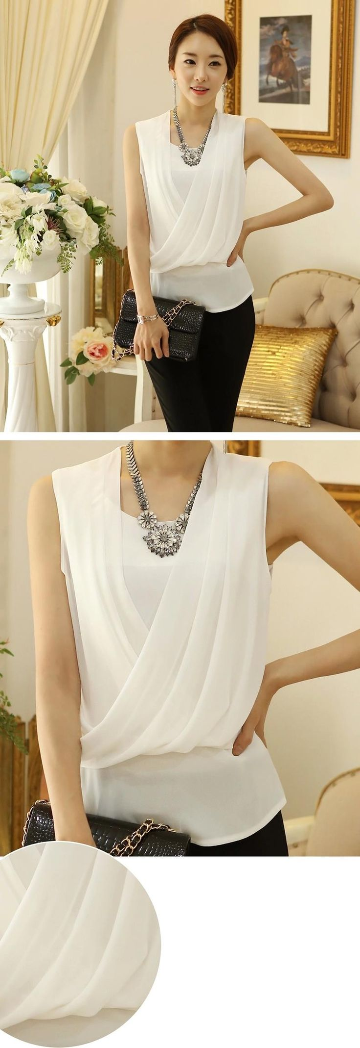 Aliexpress.com : Buy Sleeveless Feminine Blouse Chiffon Shirts Femininas Pleated Women Blouses Slim Female Shirt Elegant White Tops Chiffon Blouse from Reliable blouse dress suppliers on ceko | Alibaba Group                                                                                                                                                                                 Más