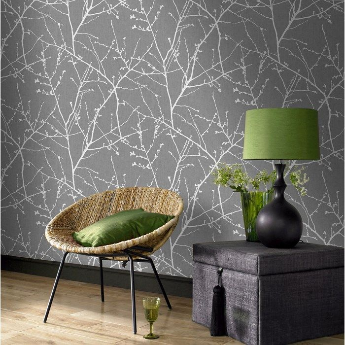 Innocence Charcoal / Silver Wallpaper by Graham and Brown
