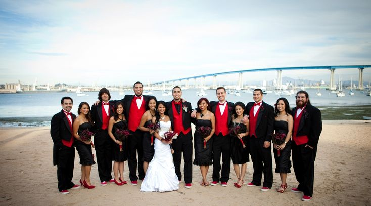 black and red wedding reception photos
