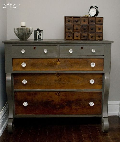 Refinished dresser - love the paint/wood combo.  This piece has beautiful lines