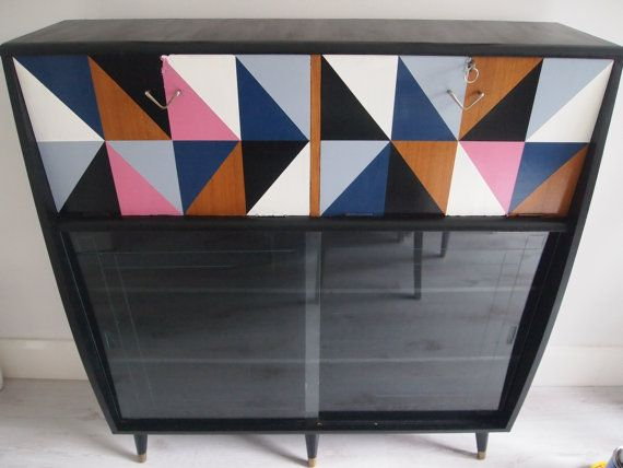 Geometric Up-cycled Drinks Cabinet by ChantillyPress on Etsy