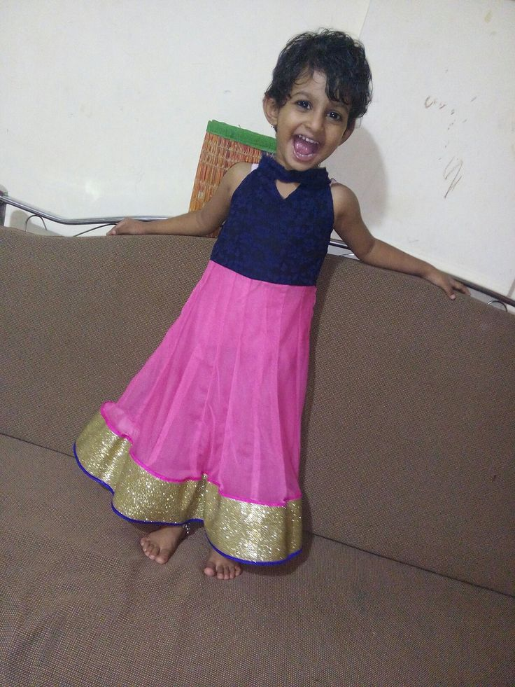 Blue and pink anarkali frock for children, full view