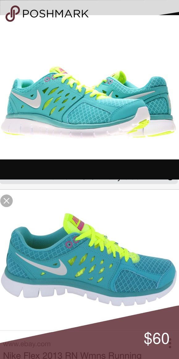 TIFFANY BLUE NIKE FLEX RUN Used .... mint condition.. no sign of wear aside the little scrapes on front of toes .. no visible stains or tears in fabric Nike Shoes Athletic Shoes
