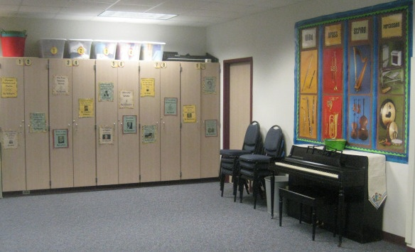 Some great ideas for music room organization and setup.