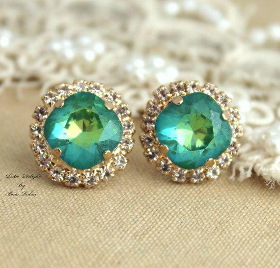 Emerald peridot green Rhinestone Crystal stud Petite by iloniti, $43.00 #esrrings, #studs, #jewelry, #emeraled, #style, #fashion