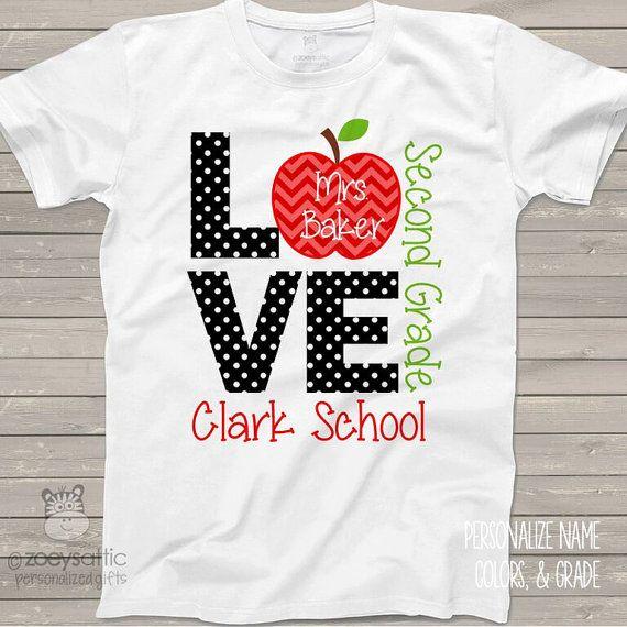 Love school personalized Tshirt  ADULT teacher shirt by zoeysattic