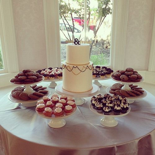Yellow And Grey Wedding Dessert Table