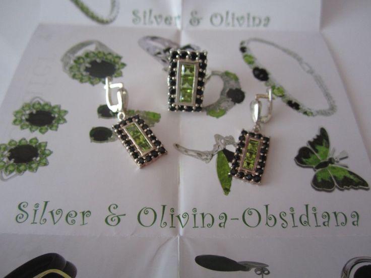 Olivina Obsidian Ring & Dangle Earrings .925 Sterling Silver Green Black SPAIN