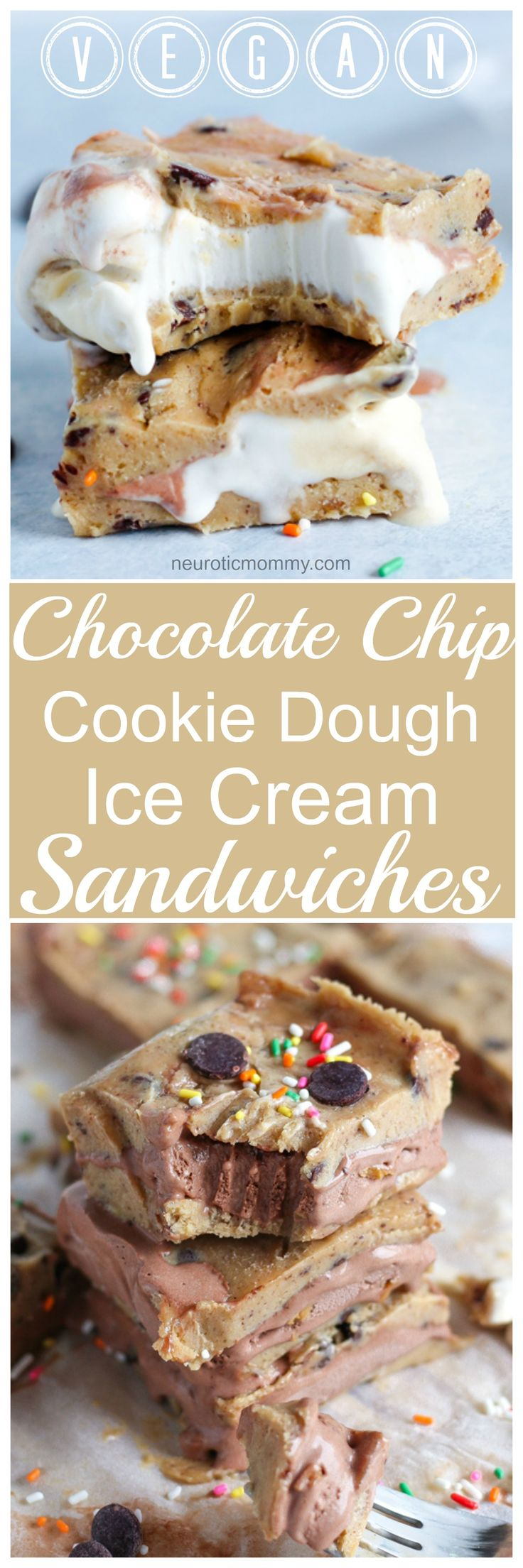 Vegan Chocolate Chip Cookie Dough Ice Cream Sandwiches- The most delicious vegan ice cream bars filled with dairy free rocky road and birthday cake! NeuroticMommy.com #vegan #desserts #snacks