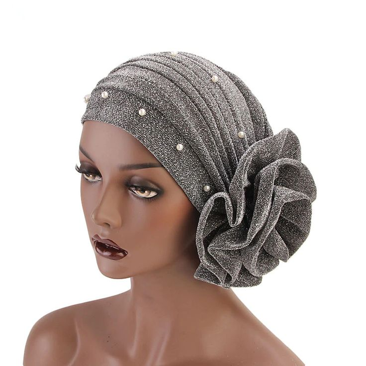 Big Flower With Pearls Turban Headband (Various Colors)   – Drag Queen Headwear