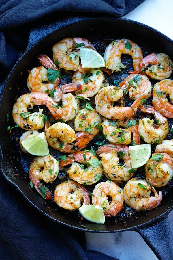 Cilantro Lime Shrimp - best shrimp ever with cilantro, lime & garlic on sizzling skillet. Crazy delicious recipe, takes 15 mins only   rasamalaysia.com