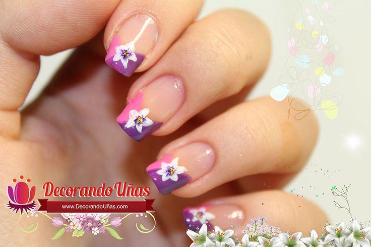 Uñas decoradas con flores, diseño paso a paso | Decoración de Uñas - Manicura y Nail Art