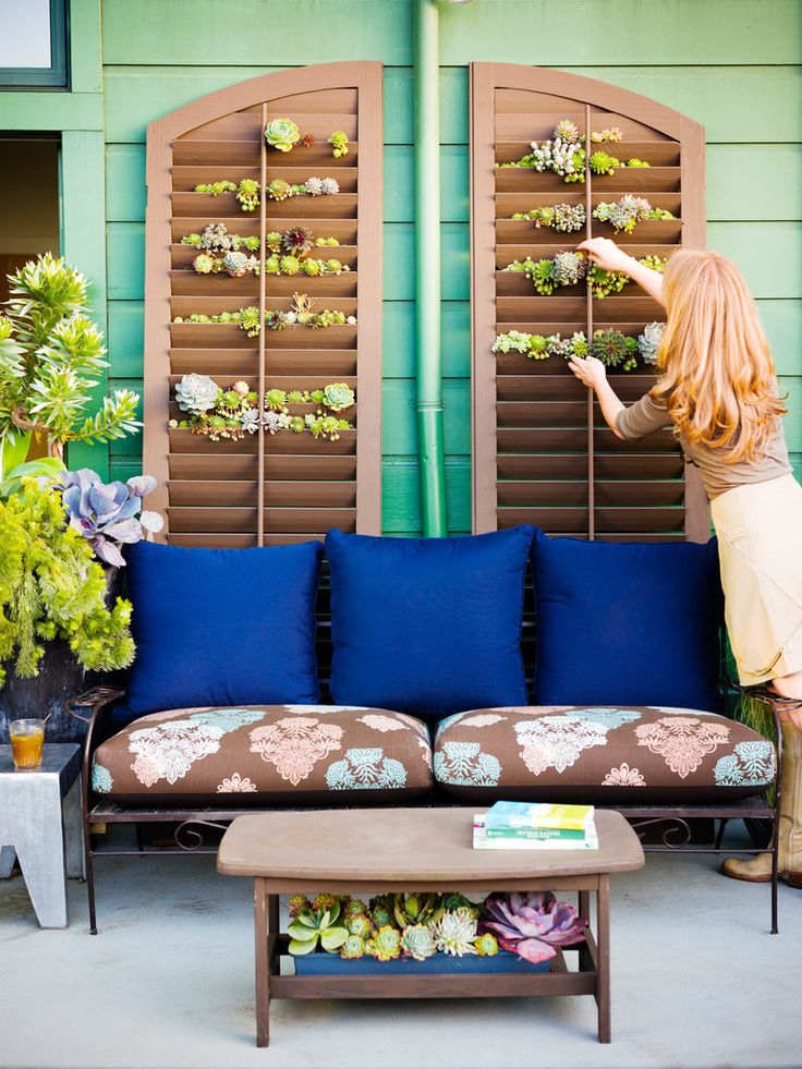 These DIY Succulent Shutters are perfect for small patios