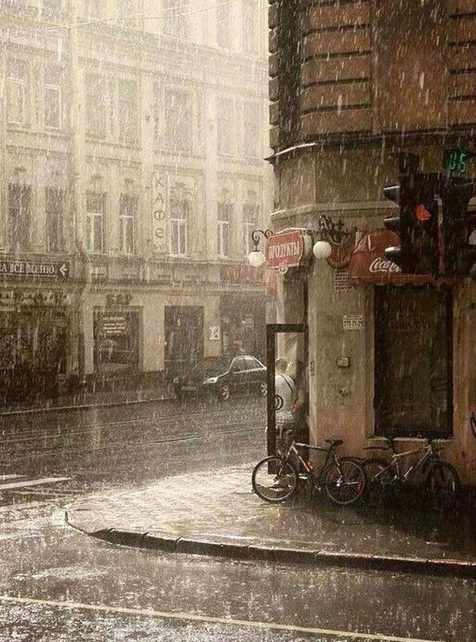 гиф дождь в городе