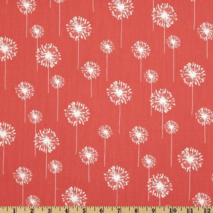 Premier Prints Small Dandelion Coral/White from @fabricdotcom  Screen printed on cotton duck; this versatile medium weight fabric is perfect for window accents (draperies, valances, curtains and swags), accent pillows, duvet covers and upholstery. Create handbags, tote bags, aprons and more. *Use cold water and mild detergent (Woolite). Drying is NOT recommended - Air Dry Only - Do not Dry Clean. Colors include white and coral.