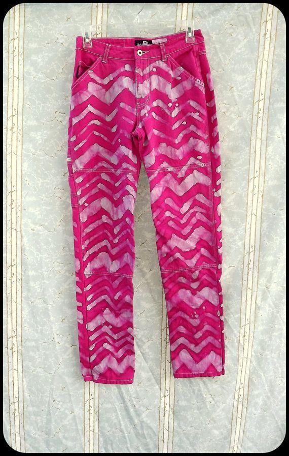 Batik Skinny Jeans  Size 3 / 4  Hot Pink  Zebra  by GraceAtieno, $25.00