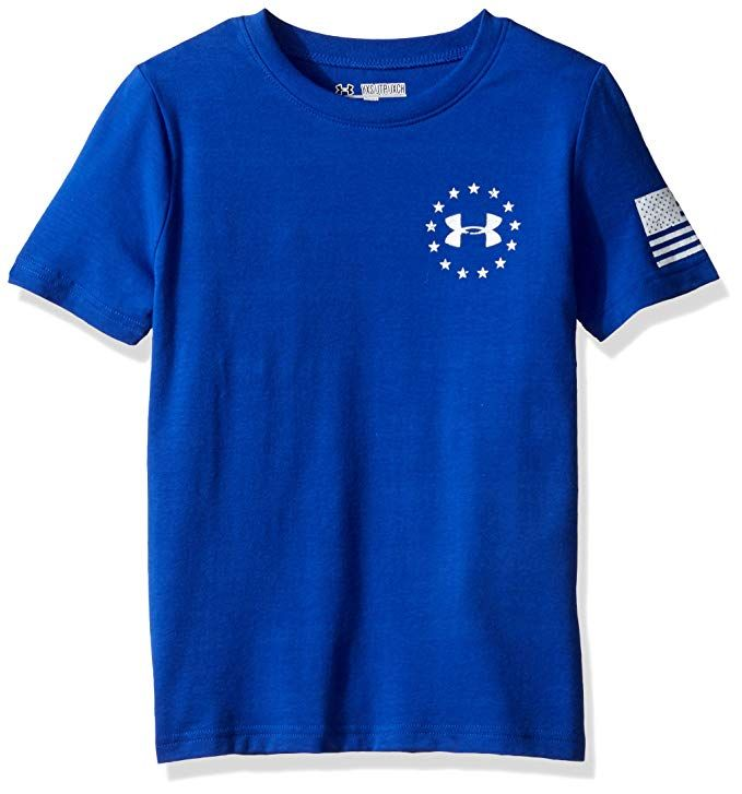 Under Armour Boys Freedom Flag T Shirt Royal White Youth Large Shirts Mens Tops Active Shirts