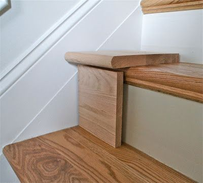 Great DIY tutorial for replacing carpet on stairs with wood.   I think I could SO do this & make a huge improvement in our staircase.