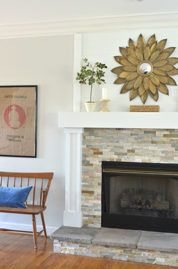 DIY Fireplace Makeover with Stone Tile, new hearth and mantel. Beautiful makeover.